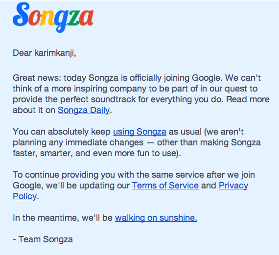 Songza joining Google